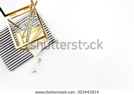 Header website or Hero website, view table gold accessories office items - stock photo