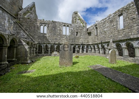HEADFORD, IRELAND - JUNE 20, 2016: Ruins of Ross Errilly Friary, one of the best-preserved medieval monastic sites in Ireland