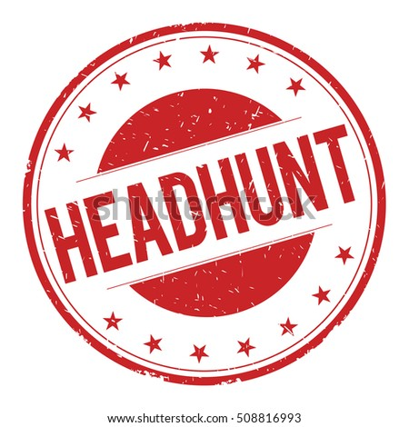 HEADHUNT stamp sign text word logo red.