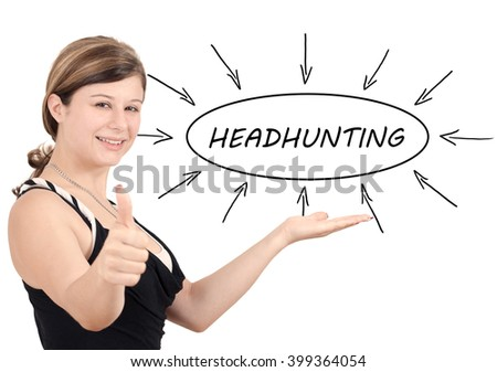 Headhunting - young businesswoman introduce process information concept. Isolated on white. - stock photo