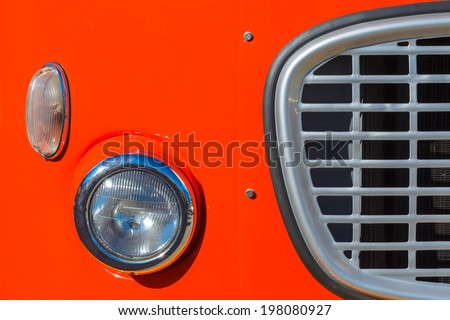 Headlamp of old classic bus, Krakow, Poland