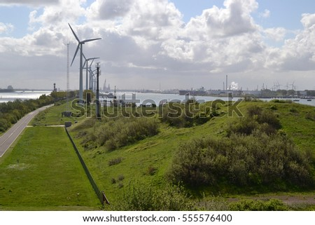 Headland at Rozenburg in the port of Rotterdam. The Netherlands.