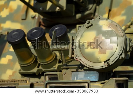Headlight close-up on a military tank