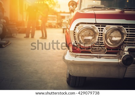 Headlight lamp of vintage car - retro color effect style - stock photo