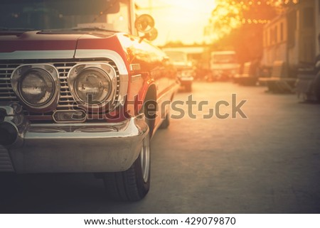Headlight lamp of vintage car - retro color effect style