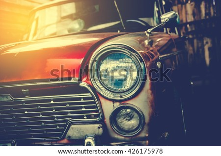 Headlight lamp vintage car - stock photo