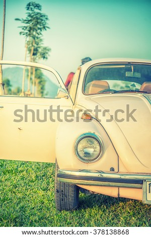 Headlight lamp vintage classic car - vintage effect style pictures - stock photo