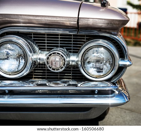 Headlight of a vintage car.  - stock photo