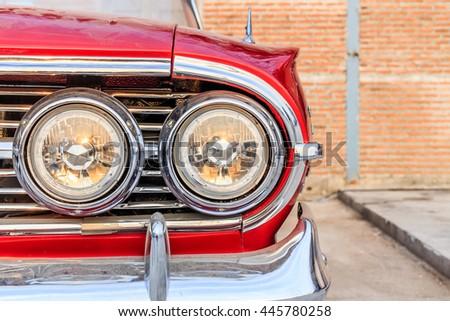 Headlight of a vintage car - stock photo