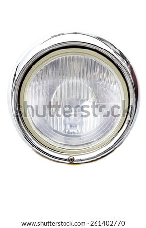 Headlight of an old car on a white background. Stock photography. - stock photo