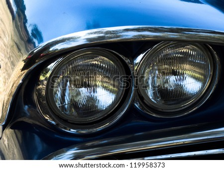 Headlights of a classic american car headlights