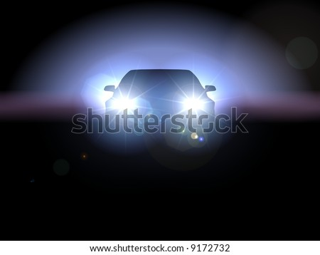 Police Car Headlights Headlights of Car in Darkness