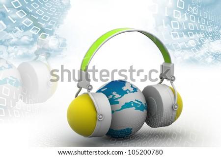 Headphone and globe on digital background - stock photo