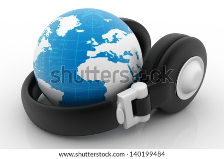 Headphone and globe on white background. - stock photo