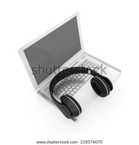 Headphone and Laptop  - stock photo