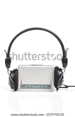 Headphone and walkman - stock photo