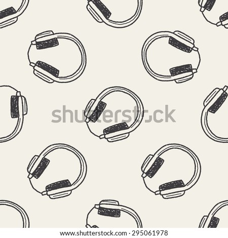 headphone doodle seamless pattern background - stock photo