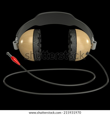 Headphone. isolated on black background. 3d illustration - stock photo