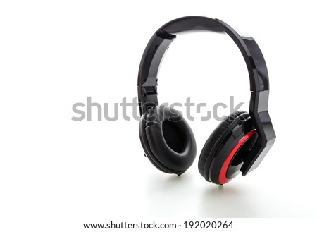 Headphone isolated on white - stock photo