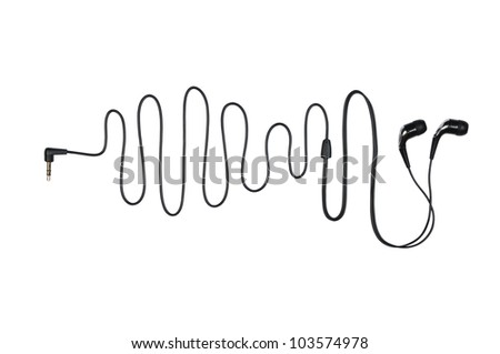 Headphone with a cable in the sinusoid form isolated on a white - stock photo