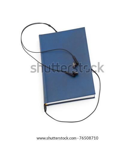 headphones and books (audio book concept) isolated - stock photo