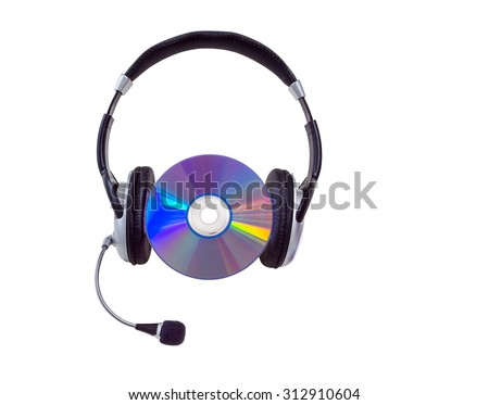 headphones and cd CD-R, DVD on a white background. isolated - stock photo