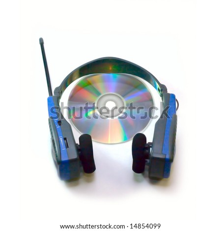 Headphones and compact disc isolated on white