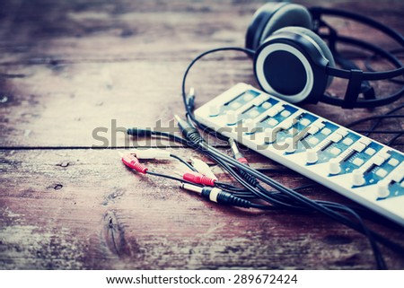 Headphones and DJ equipment  - stock photo