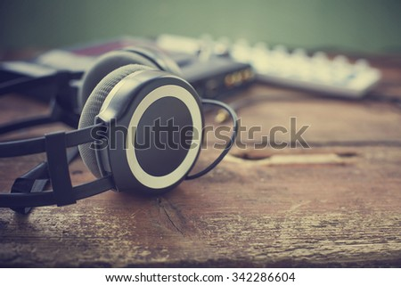 Headphones and DJ equipment/ selective focus