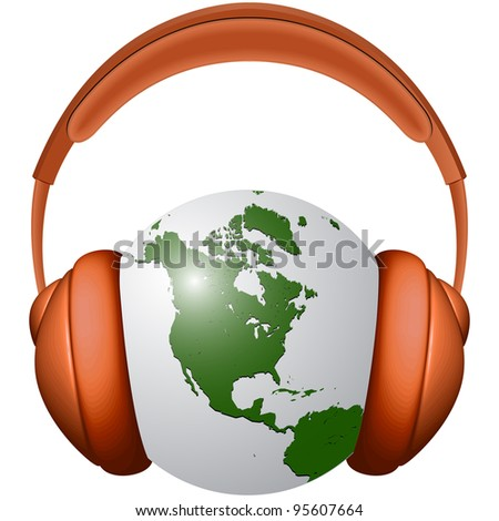 headphones and earth globe against white background, abstract art illustration - stock photo