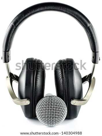 headphones and Microphone isolated on  white background  - music concept - - stock photo
