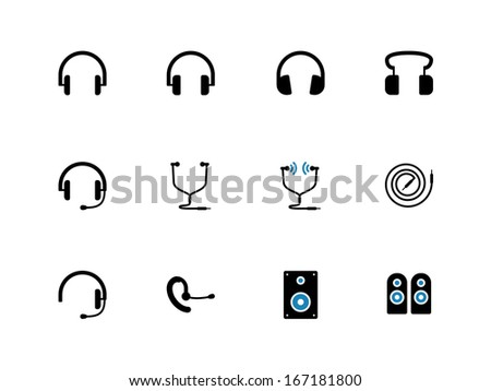 Headphones and speakers duotone icons. See also vector version. - stock photo