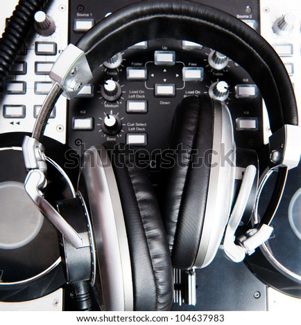 headphones close up in a music console