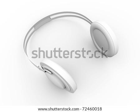 Headphones. 3D rendered Illustration. Isolated on white. - stock photo