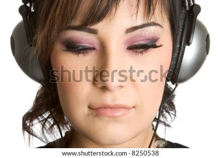 Headphones Girl - stock photo