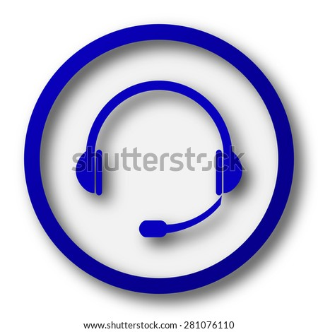 Headphones icon. Blue internet button on white background.  - stock photo