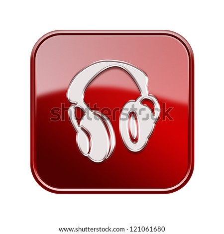 headphones icon glossy red, isolated on white background. - stock photo