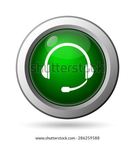 Headphones icon. Internet button on white background  - stock photo