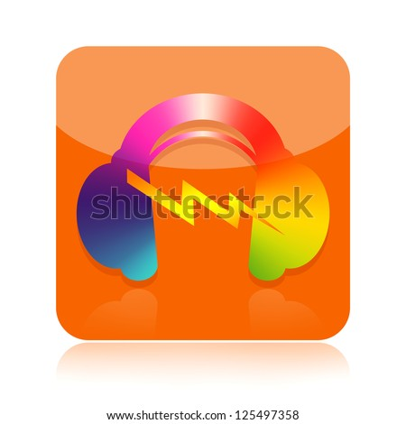 Headphones icon isolated on white background - stock photo