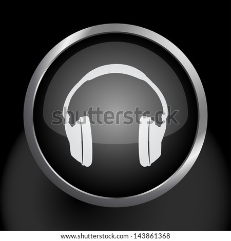 Headphones Icon Symbol - Raster Version, Vector Also Available. - stock photo