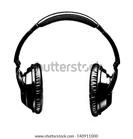 Headphones Illustration in Black and White - stock photo