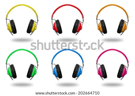 headphones in different colors isolated on white background