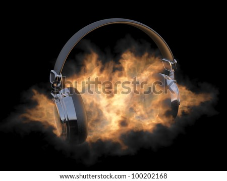 Headphones in fire. Illustration on black background - stock photo