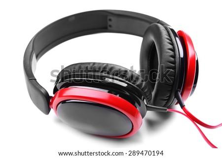 Headphones isolated on white - stock photo
