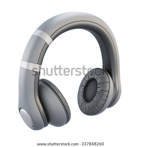 Headphones isolated on white background. 3d illustration.