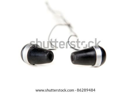 Headphones isolated on white. Closeup, studio shot. - stock photo