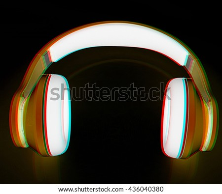 headphones on a black background. 3D illustration. Anaglyph. View with red/cyan glasses to see in 3D. - stock photo