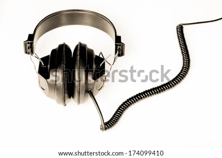 headphones on a white clean back ground - stock photo