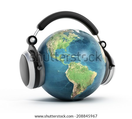 Headphones on blue globe isolated on white. Elements of this image furnished by NASA.