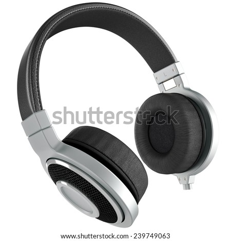 Headphones with black leather. Headphones isolated on white background